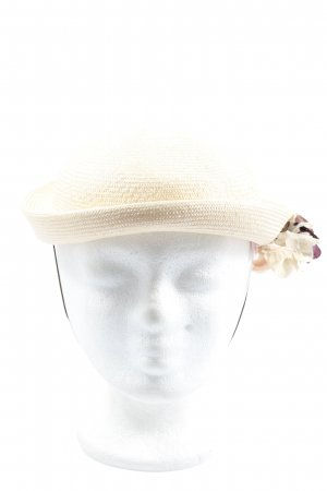 Charles Muller Bowler Hat natural white weave pattern casual look