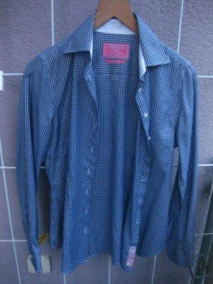 Charles Tyrwhitt Checked Blouse white-blue cotton