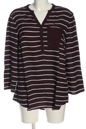 Charles Vögele Hemd-Bluse braun-weiß Streifenmuster Casual-Look