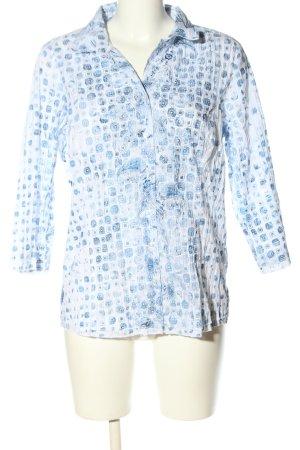 Charles Vögele Hemd-Bluse weiß-blau abstraktes Muster Casual-Look
