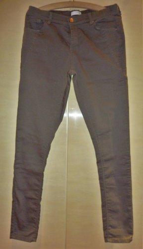 Charles Vögele Drainpipe Trousers grey brown cotton
