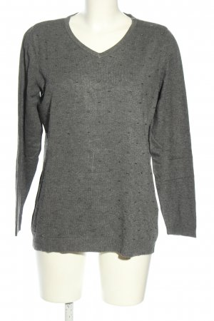 Charles Vögele Crewneck Sweater light grey flecked casual look