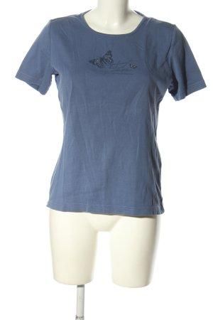 Charles Vögele T-shirt niebieski Nadruk z motywem W stylu casual