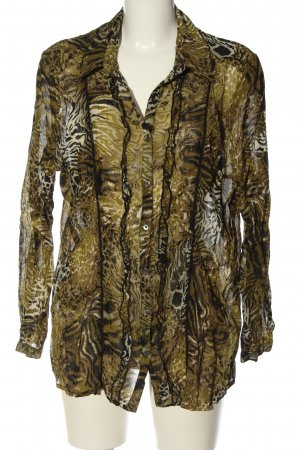 Charles Vögele Transparenz-Bluse braun-schwarz abstraktes Muster Casual-Look