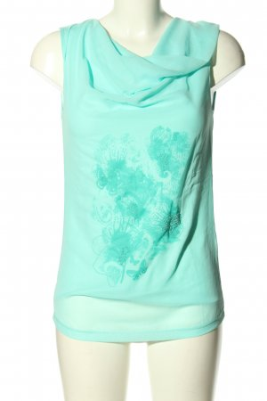 Charles Vögele Cowl-Neck Top turquoise themed print casual look