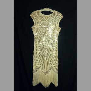 Vestido con flecos crema-color oro