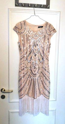 Vestido corte imperio crema Fibra sintética