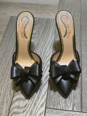 Charlotte Olympia High Heel Sandal black-gold-colored leather