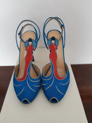 Charlotte Olympia High Heel Sandal blue-red silk