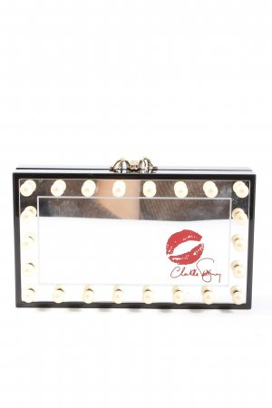 Charlotte Olympia Clutch black-silver-colored themed print casual look