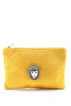 Charlotte Olympia Borsa clutch giallo pallido motivo trapuntato stile casual