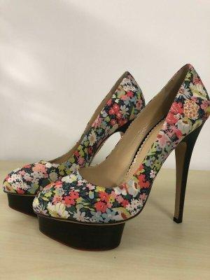 Charlotte Olympia Pumps 39 neu Blumen Print Plateau High Heels Stilettos