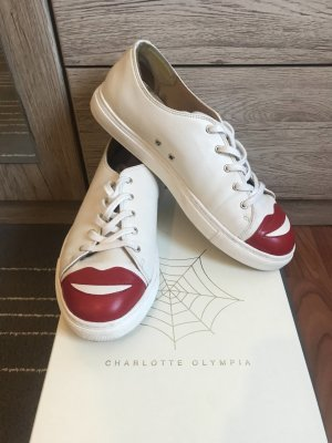 Charlotte Olympia Lace-Up Sneaker white-natural white leather