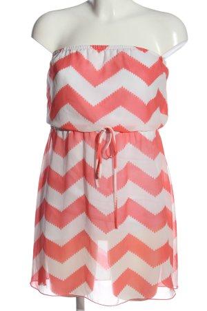 Charlotte Russe schulterfreies Kleid pink-weiß Streifenmuster Casual-Look