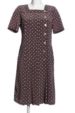 Charmant Midi Dress brown-white allover print business style