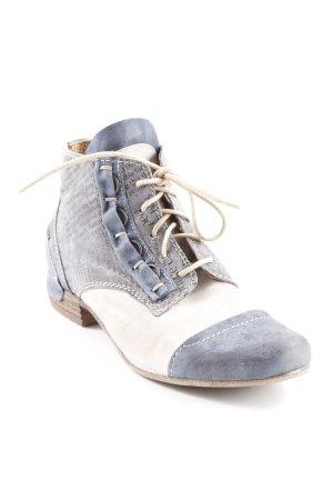 Charme Schnürstiefel graublau-creme abstrakter Druck extravaganter Stil