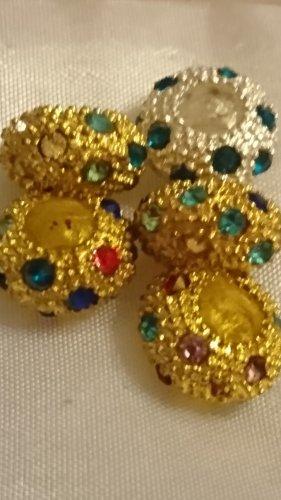 Charms Beads Silber ,Gold mit Krystallsteinen 5 Stück für Armband oder Kette .