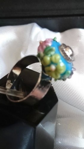 Charms -Beads Wechselschmuck   Ring mit 1 bunte Glasperle