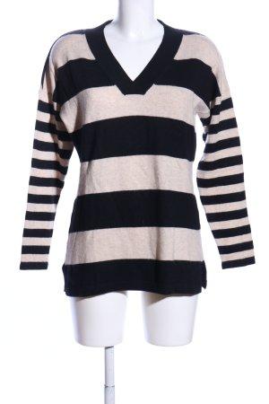 Charter Club V-Ausschnitt-Pullover schwarz-wollweiß Streifenmuster Casual-Look
