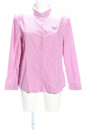 Long Sleeve Shirt white-pink check pattern business style