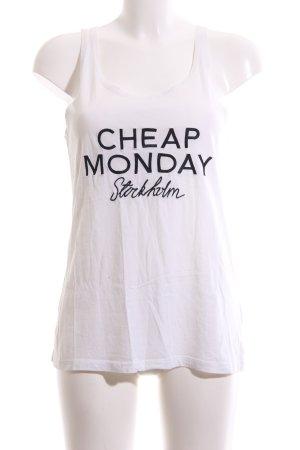 Cheap Monday Basic Top weiß Schriftzug gedruckt Casual-Look