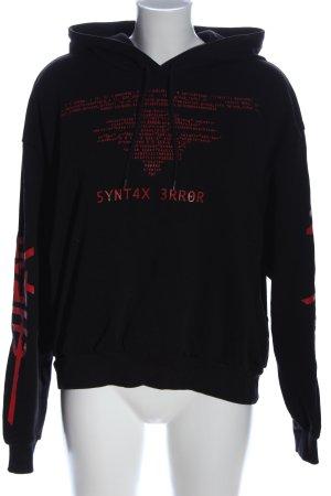 Cheap Monday Bluza z kapturem czarny-czerwony Wydrukowane logo W stylu casual