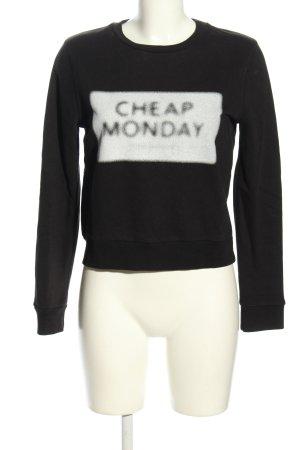 Cheap Monday Longsleeve schwarz-weiß Schriftzug gedruckt Casual-Look