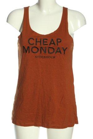 Cheap Monday Haut basique orange clair-noir lettrage imprimé