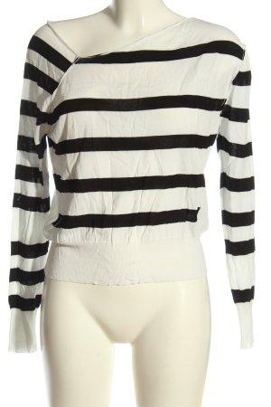Cheap Monday Maglione girocollo bianco-nero motivo a righe stile casual
