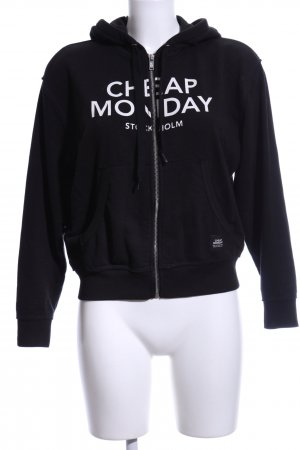 Cheap Monday Sweatjacke schwarz-weiß Schriftzug gedruckt Casual-Look