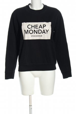 Cheap Monday Sweatshirt schwarz-weiß Motivdruck Casual-Look