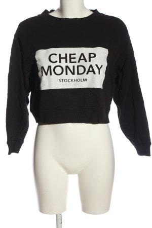 Cheap Monday Sweatshirt noir-blanc lettrage imprimé style décontracté