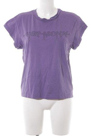 Cheap Monday T-Shirt blauviolett Schriftzug gedruckt Casual-Look