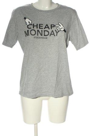Cheap Monday T-Shirt hellgrau-schwarz meliert Casual-Look