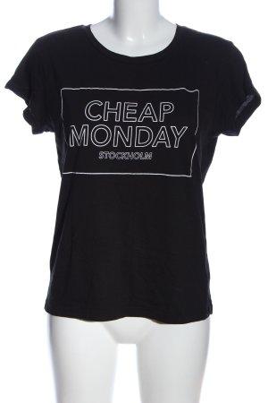Cheap Monday T-Shirt schwarz-weiß Schriftzug gedruckt Casual-Look