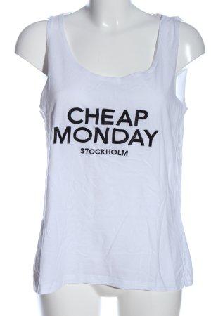 Cheap Monday Canotta a bretelle bianco-nero caratteri stampati stile casual