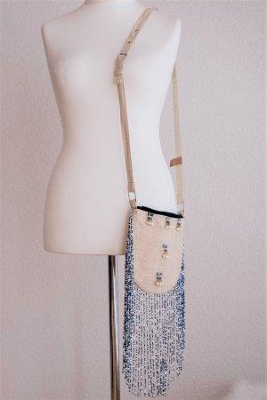 Cheer Boho Ethno Tasche Fransen Perlen Stoff beige blau