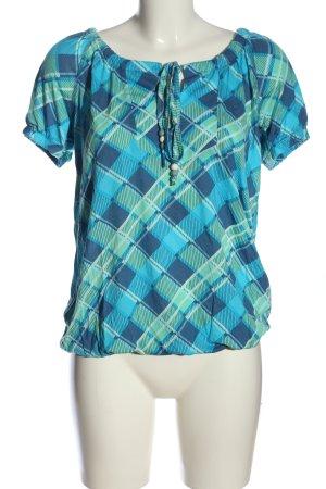 Cheer Top épaules dénudées bleu-turquoise motif à carreaux