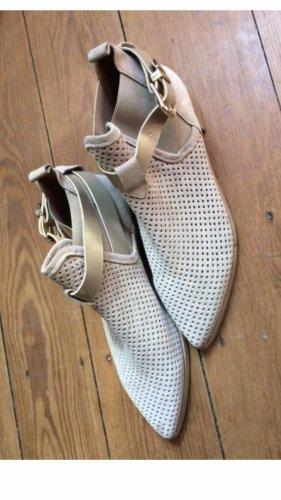 Chelsea Paris Botte courte gris clair-doré cuir
