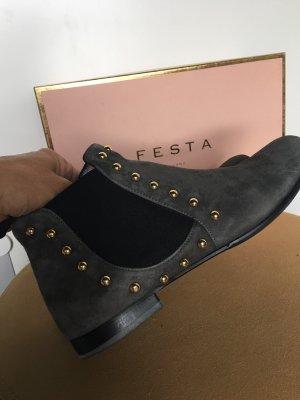 Chelsea Boots Ankle Boots Nubuk Leder grau Nieten Gold Festa Milano Zara 38