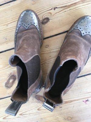 Pertini Chelsea Boot chameau-argenté cuir