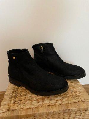 Versace Zipper Booties black leather