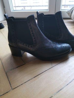 Chelsea Boots schwarz silver einmal getragen