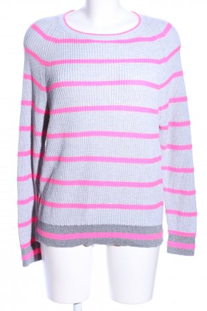 Chelsea Rose NYC Coarse Knitted Sweater light grey-pink striped pattern