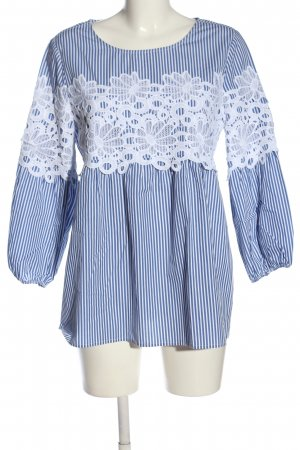 Chelsea Rose NYC Long Sleeve Blouse blue-white flower pattern casual look