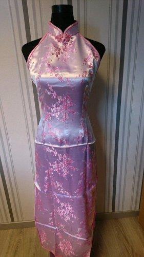 Qipao rosa claro-rosa tejido mezclado