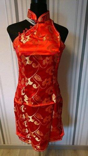 Qipao rojo-color oro tejido mezclado