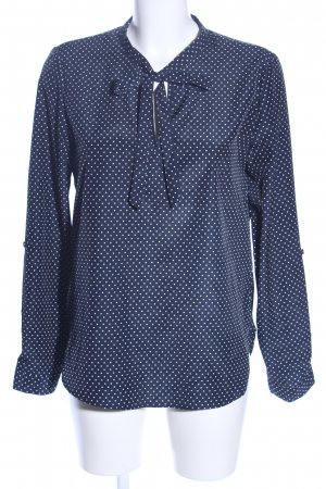 Tie-neck Blouse blue-white allover print business style