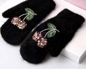 Pessina-Jewelry Gants en fourrure noir