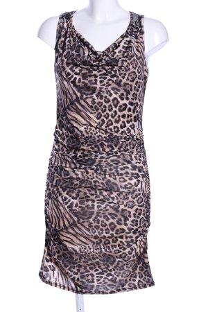 Cherry Jersey Dress cream-brown animal pattern elegant